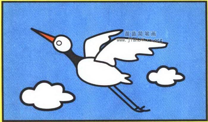 白鹤简笔画图片(彩色版)