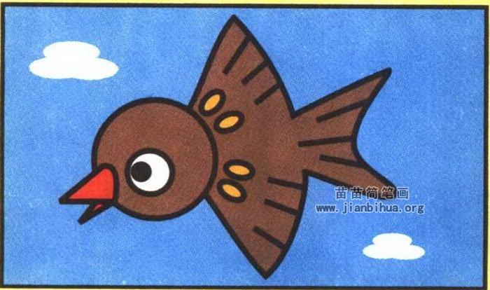 小麻雀卡通简笔画图片(彩色版)