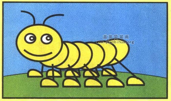 毛毛虫简笔画图片(彩色版)