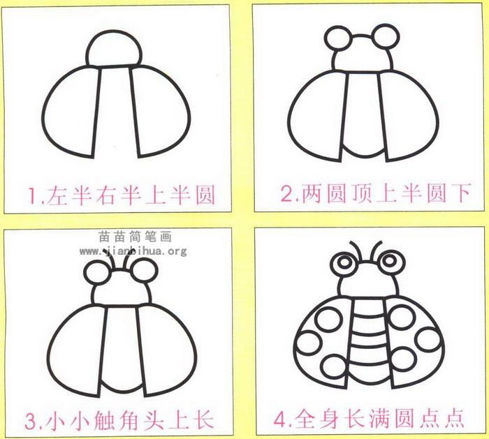 瓢虫简笔画怎么画图解图片