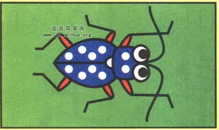 天牛卡通简笔画图片(彩色版)