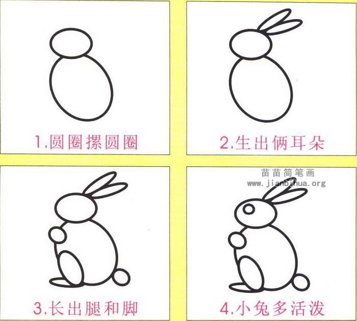 卡通兔子简笔画步骤图解