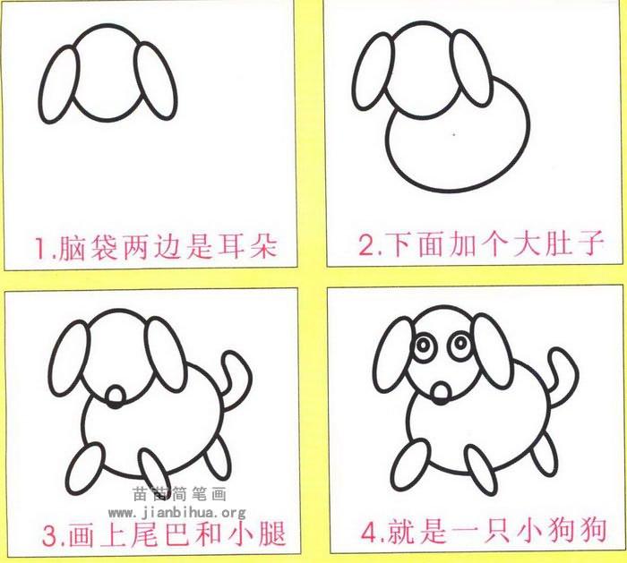 小狗卡通简笔画图解