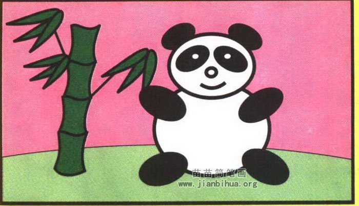 熊猫和竹子简笔画图片(彩色版)