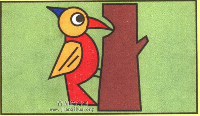 啄木鸟捉虫子简笔画图片(彩色版)