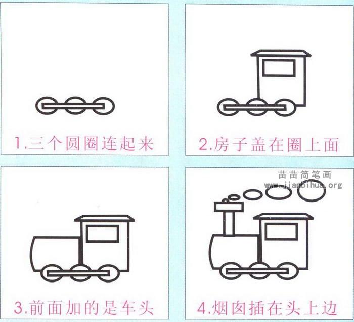 卡通火车头简笔画图解