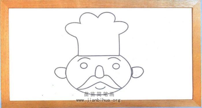 厨师头像简笔画图片(未上色版)