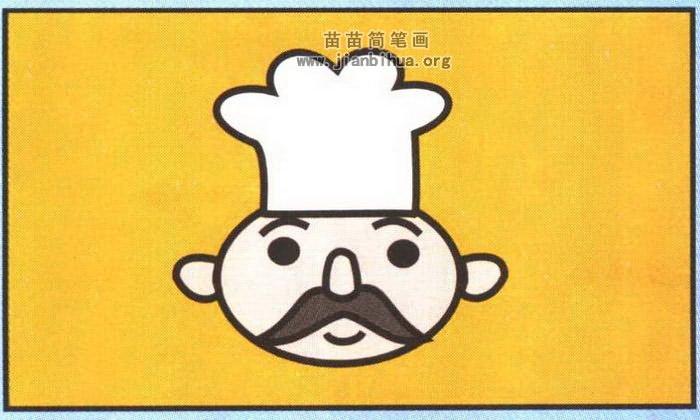 厨师头像简笔画图片(彩色版)