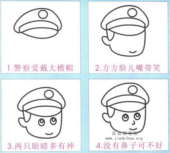警察头像简笔画简单画法图解
