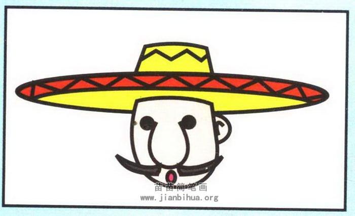 墨西哥人头像简笔画图片(彩色版)