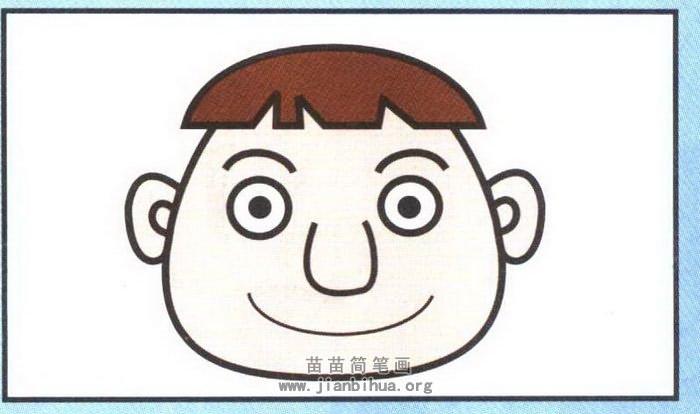卡通男孩头像简笔画图解