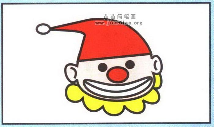 小丑头像简笔画图片,教程
