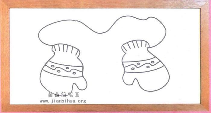 冬天手套简笔画图片,教程