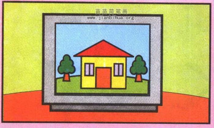 电视机简笔画图片(彩色版)
