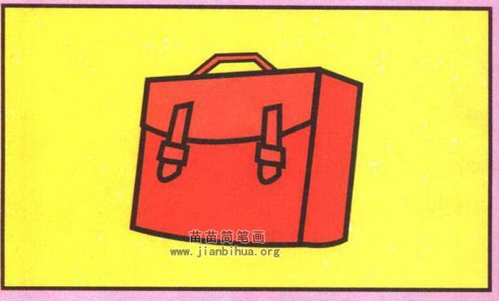 红色书包简笔画分步骤图解