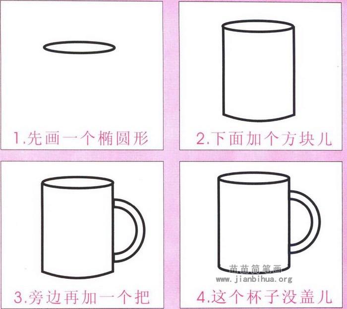 卡通小水杯简笔画图解