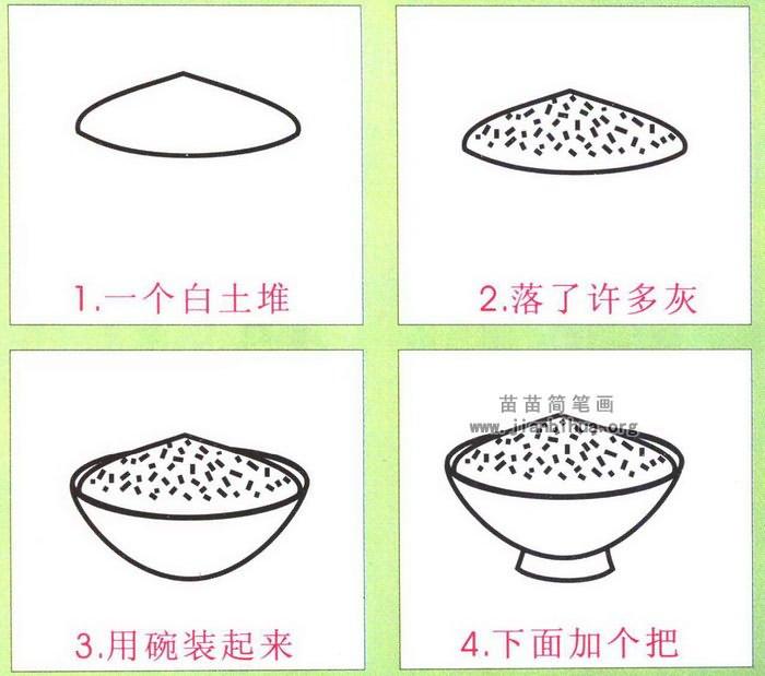 米饭简笔画图片,教程