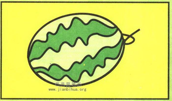 西瓜簡筆畫圖片(彩色版)