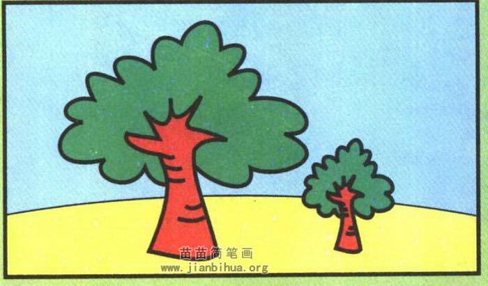 大树简笔画彩色图片 教程