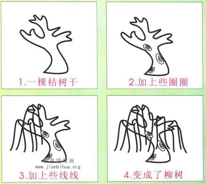 柳树简笔画怎么画图解图片