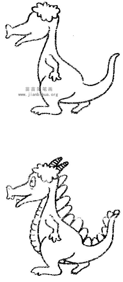 卡通龙简笔画图片 教程