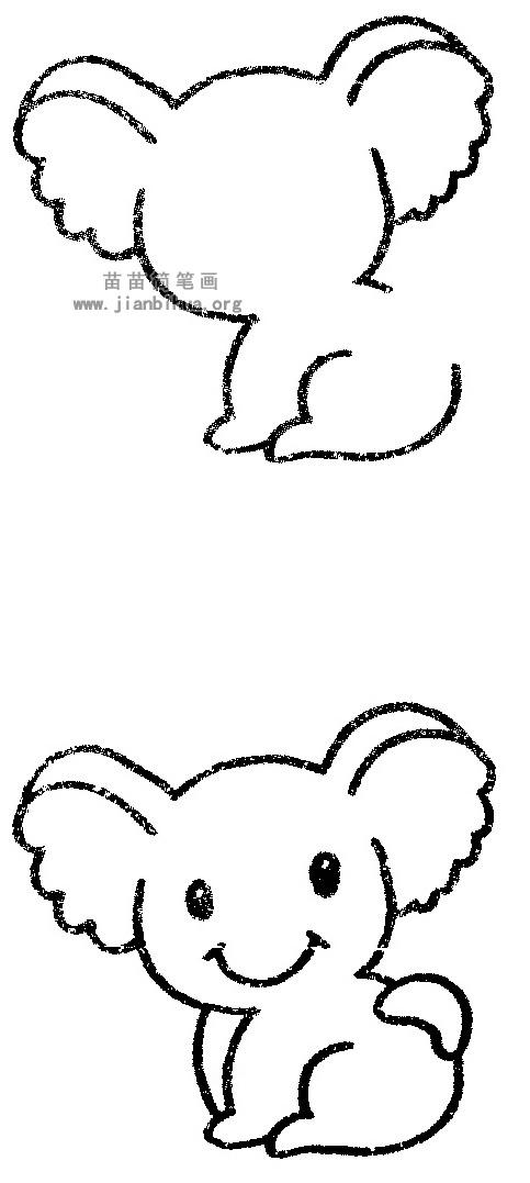 简笔画 动物简笔画 野生动物简笔画 >> 正文内容   树袋熊又叫考拉.
