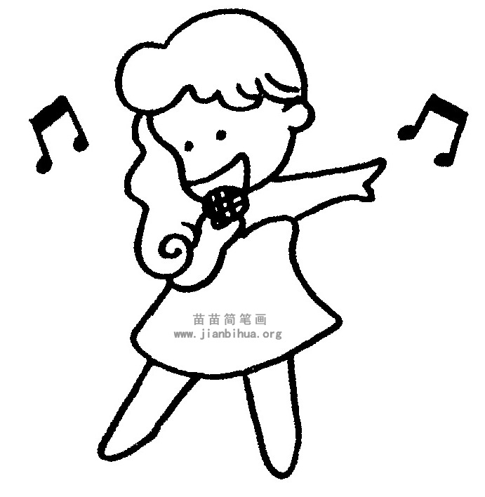 唱歌简笔画