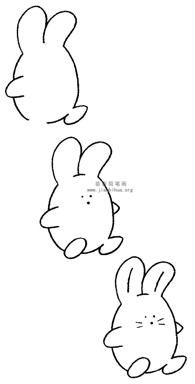 卡通兔子简笔画 儿歌与知识