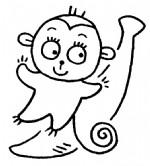 卡通猴子简笔画、儿歌与知识