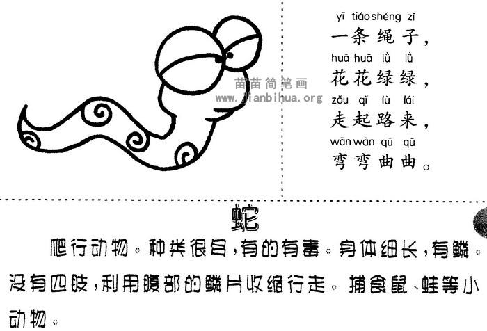 卡通蛇简笔画