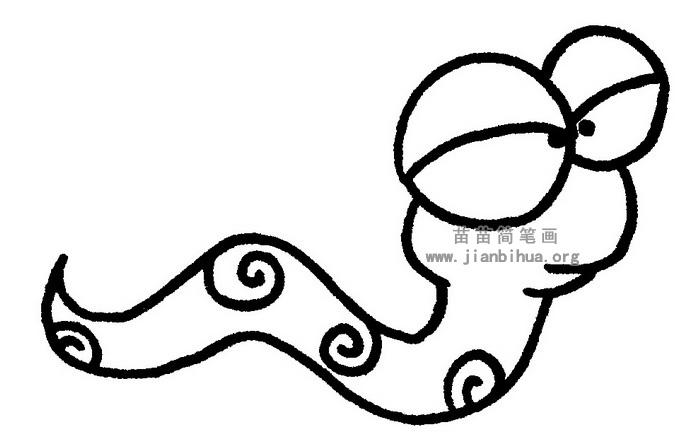 卡通蛇简笔画 儿歌与知识