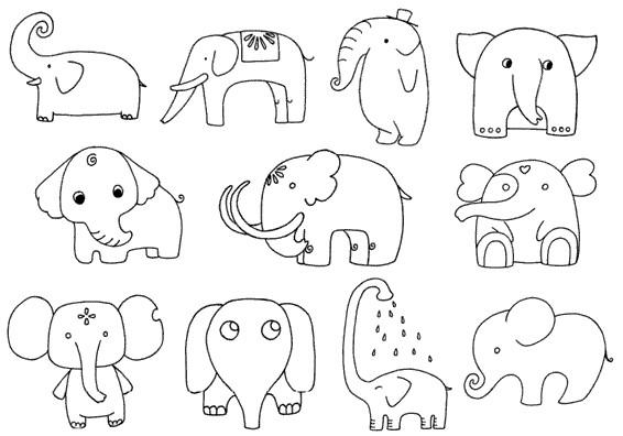 大象怎么画简笔画图解