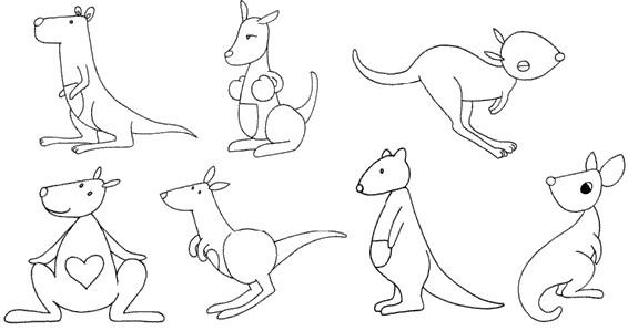 袋鼠怎么画简笔画图解