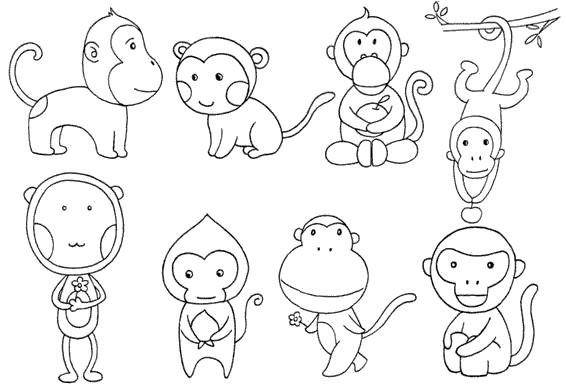 猴子怎么画简笔画图解