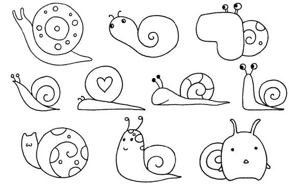 蜗牛怎么画简笔画图解