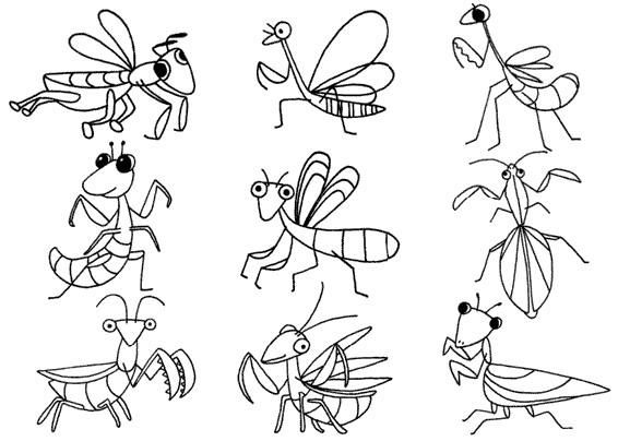 螳螂怎么画简笔画图解