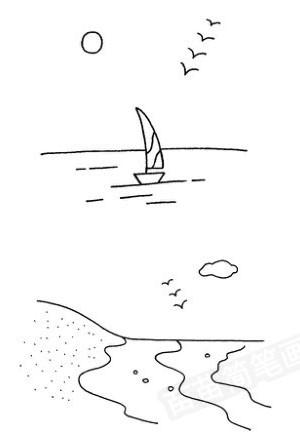 海边怎么画简笔画图解
