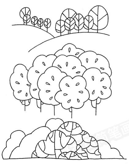 树林怎么画简笔画图解