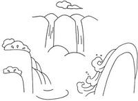 瀑布怎么画简笔画图解