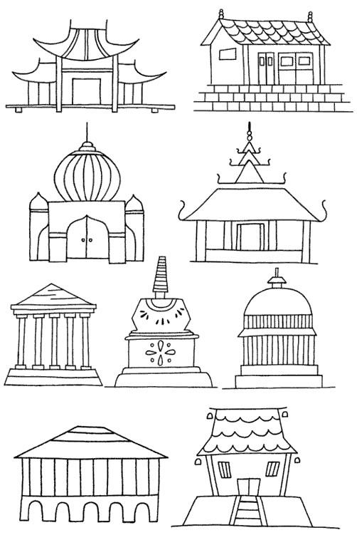 寺庙怎么画简笔画图解