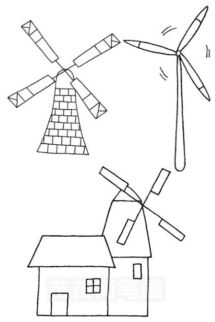 风车怎么画简笔画图解