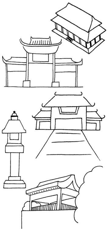 古代建筑怎么画简笔画图解
