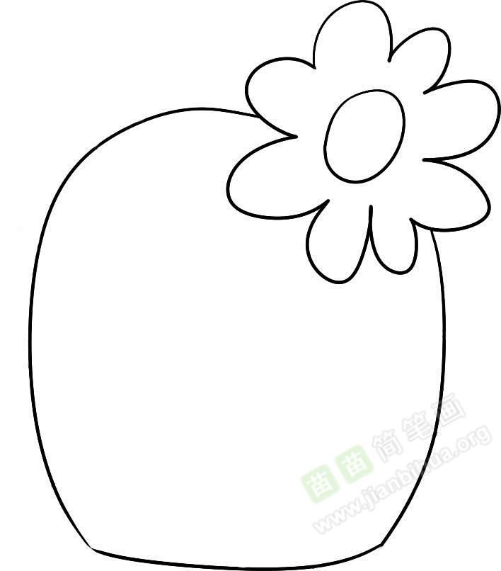 第二步,在花朵的左下方画上一个大大的半圆,仿佛花朵就长在头上一样;