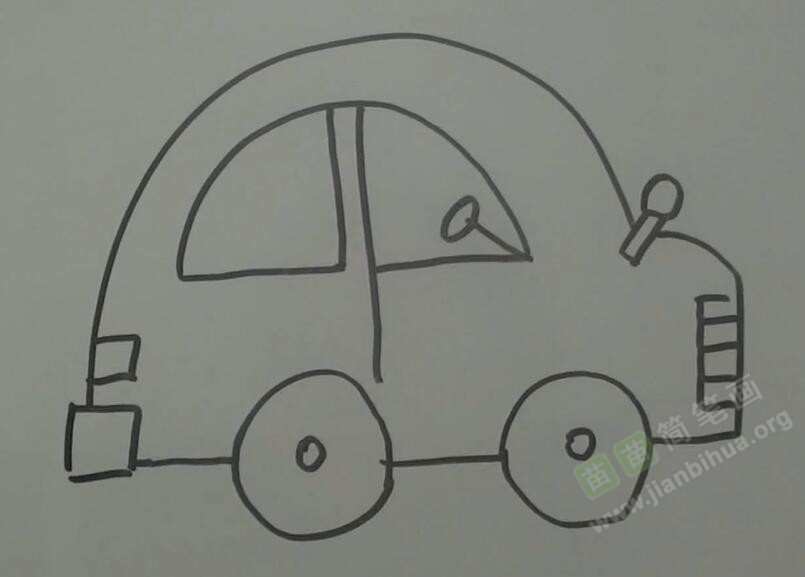 侧视图画小轿车简笔画视频教程
