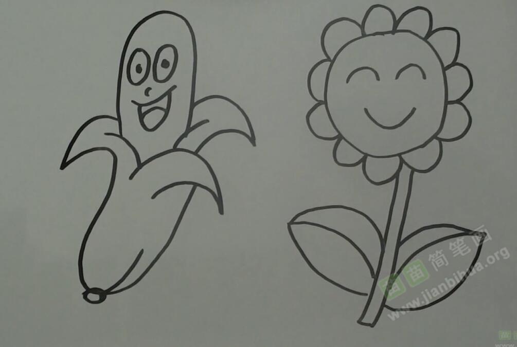 拟人法画香蕉、向日葵简笔画