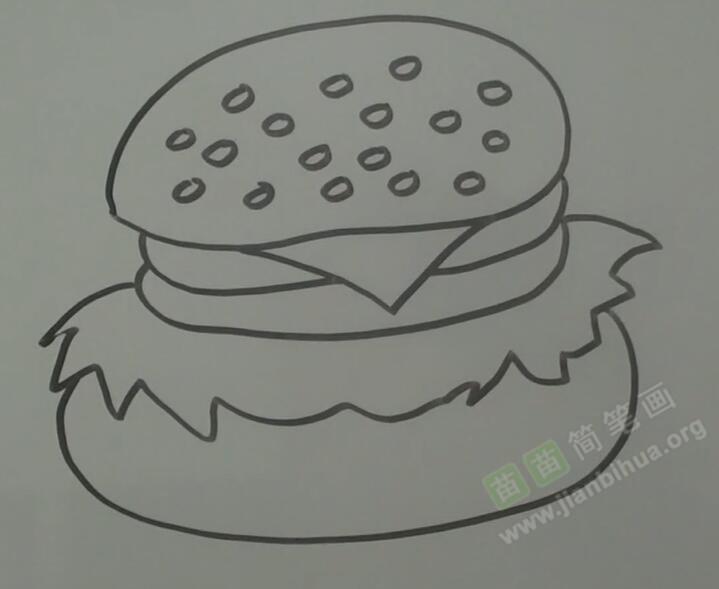 周视图画汉堡简笔画视频教程