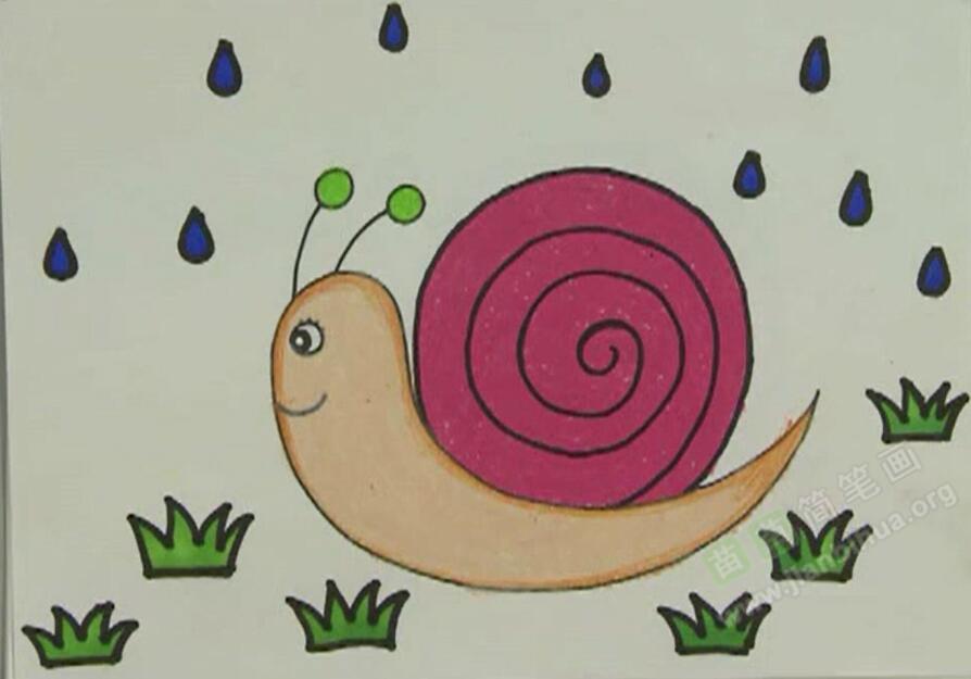 教程简笔画_视频画简赛事蜗牛蜗牛笔画视频cf图片