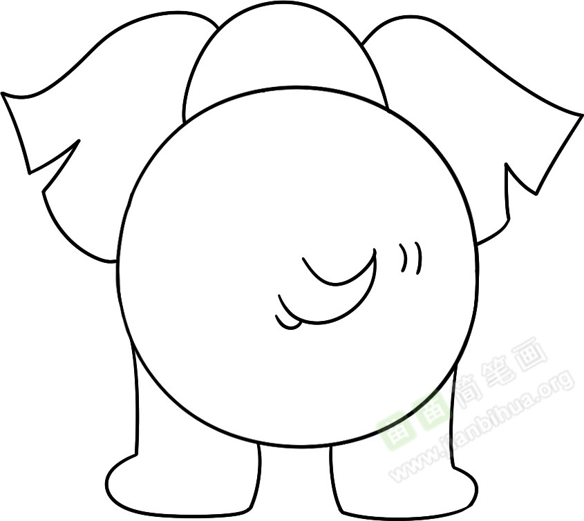 间位置画上大象的小尾巴,并在大圆形下面画上两只粗壮的大腿;-
