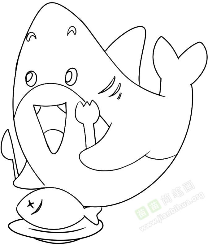 鲨鱼简笔画图片教程