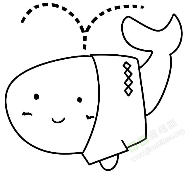 喷水柱的鲸鱼儿童画绘制方法